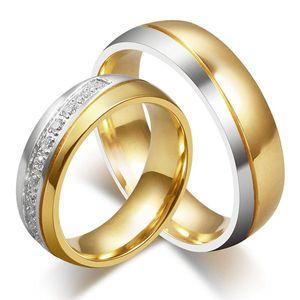Eheringe : Trauringe / Ring aus Edelstahl silber gold, Ringgrösse:57 (18.1 mm Ø), Modell:Damenring