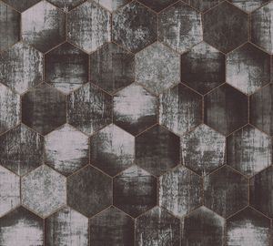 A.S. Création Vliestapete Materials Tapete metallic grau 10,05 m x 0,53 m 363304 36330-4