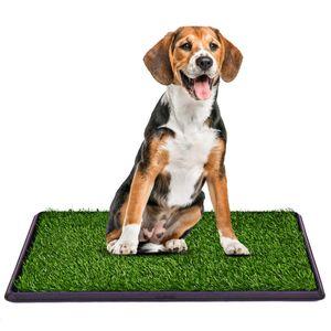 COSTWAY Hundeklo Rasen Welpentoilette Hundetoilette Tierklo Trainingsunterlage Indoor Restroom Toepfchen stubenrein mit Grass 51CMX76CM