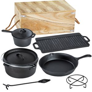 tectake Dutch Oven-Set aus Gusseisen in Holzkiste 9-tlg. - schwarz