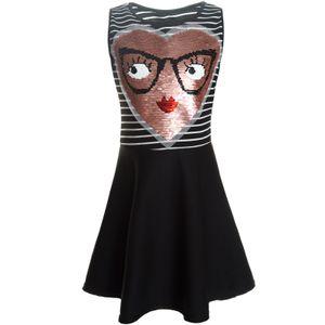 BEZLIT Mädchen Wende Pallietten Kleid mit schwingenden Rockteil Schwarz 152