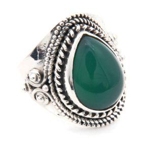 Grüner Onyx Ring 925 Silber Sterlingsilber Damenring grün (MRI 105-14),  Ringgröße:60 mm / Ø 19.1 mm