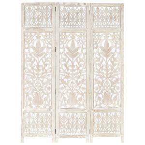 3tlg. Paravent Vintage | Raumteiler Raumtrenner | Balkonsichtschutz | Handgeschnitzt Weiß 120×165cm Mango Massivholz - direkt vom Hersteller HOM777503