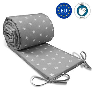 Bettumrandung Babybett nestchen Umrandungen - Babynest Kopfschutz für Baby Beistellbett Gitterbett 210 cm GRAU