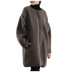 Einfarbiger loser Wolltuch-Reißverschlussmantel für Frauen O-Neck Top Lässiger langer Mantel Größe:L,Farbe:Taupe