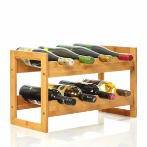 bambuswald© Weinregal für 8 Flaschen aus 100% nachhaltigem Bambus | Etagen Flaschenregal Weinschrank Weinhalter Weinablage