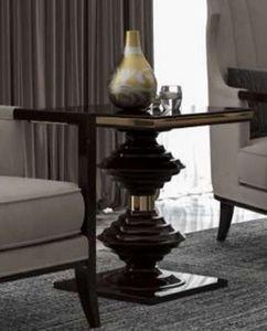 Casa Padrino Luxus Art Deco Beistelltisch Dunkelbraun Hochglanz / Gold - Edler Massivholz Tisch - Art Deco Wohnzimmer Möbel - Luxus Qualität