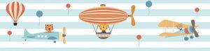 Lovely Kids selbstklebende Kinderzimmer Bordüre Flying Party blau orange braun weiß 5,00 m x 0,155 m