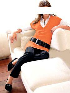 Heine Longpullover, orange Strickwaren Größe: 38