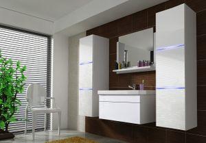 Badmöbel Set 5-Tlg Weiss HGL DREAM XL inkl.80 cm Waschtisch und LED