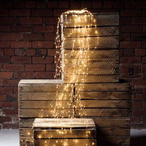 2M 200 LED Lichterkette Wasserfallleuchten Kupferdraht Dekorativ Warmweiß Lichterketten
