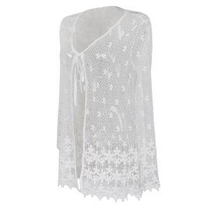 frauen strand bademode bikini vertuschen wrap weiße spitze floral mesh dress l Weiß Aufdecken Blumen