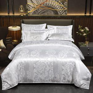Bettwäsche 200x220cm Weiß Jacquard Bettbezug Blumen Muster Luxus Bettbezug Set 3