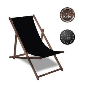 Liegestuhl Strandliege Sonnenliege Gartenliege Holz Liege 120 kg imprägniert - Schwarz