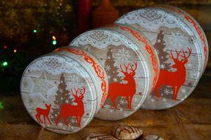 3er Set Gebäckdose Weihnachten Metall Plätzchendose Set Keksdose Blech Dose