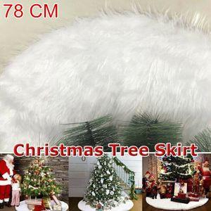 Miixia 78CM Christbaumdecke Fellimitat Plüsch Weihnachtsbaumdecke Decke Tannenbaum Deko Kunstfell Weiß Rund Rock Teppich Filz