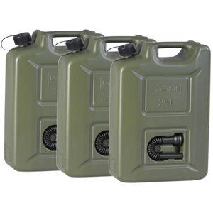 Benzinkanister 20L Kunststoff Plastikkanister Dieselkanister Olivgrün 3 Stück
