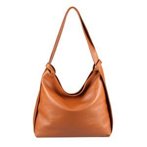 OBC  Italy Damen Echt Leder Tasche Rucksack 2 in 1 Umhängetasche Schultertasche Daypack Rucksacktasche Shopper Backpack Cityrucksack Handtasche Cognac (Leder)