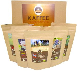 Kaffee Globetrotter -Box 5 Mal 100g GourmetKaffee - Mittel Gemahlen
