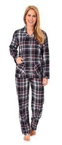 Damen Flanell Pyjama Schlafanzug kariert - auch in Übergrössen - 281 201 95 247, Farbe:dunkelgrau, Größe:44/46