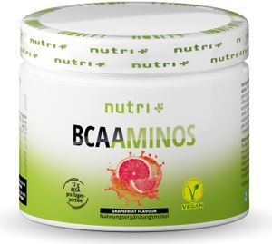 BCAA POWDER GRAPEFRUIT - Aminosäuren Mix hochdosiert - Vegan - BCAAs Instant Pulver - Branched-Chain Amino Acids - Aminosäure Nahrungsergänzung 300g - Aminosäurepulver