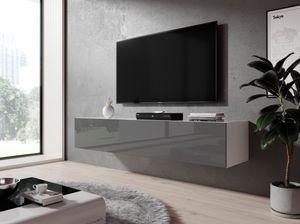 FURNIX Hängeboard, Lowboard RTV Zibo 160 Grau glänzend