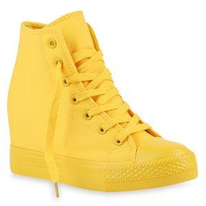 Mytrendshoe Damen Sneakers Keilabsatz Sneaker-Wedges Trendfarben Stoffschuhe 892580, Farbe: Gelb, Größe: 39