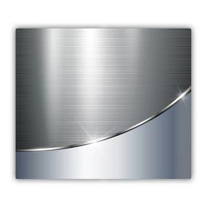 Tulup Glas Herdabdeckplatte Ceranfeldabdeckung Spritzschutz Glasabdeckplatte Kochplattenabdeckung und Schneidebrett - Einteilig - 60x52 cm - Material-Textur - Metallcurve - Silber