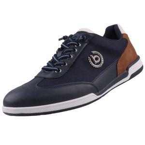bugatti Herren Sneaker Sneaker Low Lederkombination blau 44