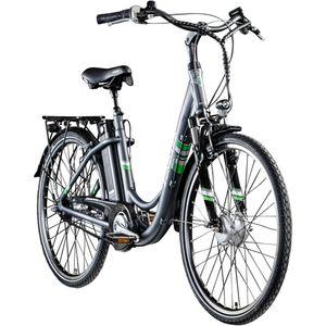 Zündapp Green 3.7 26 Zoll E-Bike E Cityrad Damenrad Pedelec Elektrofahrrad Damen Fahrrad 26', Farbe:anthrazit, Rahmengröße:46 cm