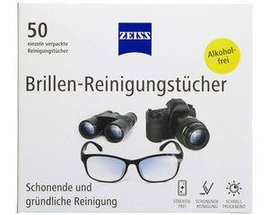 Zeiss Brillen-Reinigungstücher 50 Stück zur schonenden & gründlichen Reinigung Ihrer Brillengläser / jedes Tuch einzeln verpackt / ideal für unterwegs oder auf Reisen, 9cm, 581680