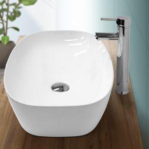 ECD Germany Waschbecken Waschtisch 605 x 380 x 140 mm aus Keramik Oval Weiß ohne Überlauf - Aufsatzbecken Aufsatzwaschbecken Handwaschbecken Aufsatzwaschtisch Spülbecken Becken Wasserfall Waschschale Waschchlüssel