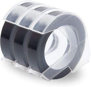 UniPlus 3x Kompatibel 3D Prägeband als Ersatz für Dymo Embossing 3D Etikettenband 9mm x 3m Weiß auf Schwarz für Dymo Omega Junior Embosser, Old Rotex Embosser, Oldschool Label Maker