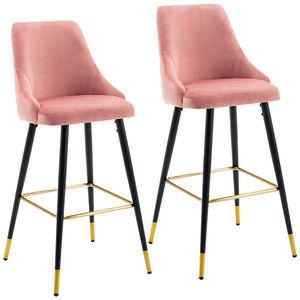 Duhome 2er Set Barhocker Barstuhl aus Stoff Samt Rosa Pink Gestell aus Metall edles Design