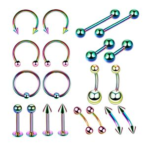 20 Set Fashion Piercing Jewelry Kit Nasenring Hoop Nasenringe Set Lip Tongue Augenbrauen Piercing Nippelringe   10 Arten Körperschmuck Größe 8mm