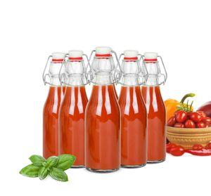 Glasflasche mit Bügelverschluss 200ml Trinkflasche Drahtbügelflasche Ölflasche 2-12 Stück(6 Stück)
