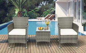 Merax Polyrattan Rattan Balkon Set 3-teiliges Gartenmöbel Set, 1 Tisch mit Glasplatte & 2 Stühlen mit Kissen, Wetterfeste Balkonmöbel für 2 Personen, Grau