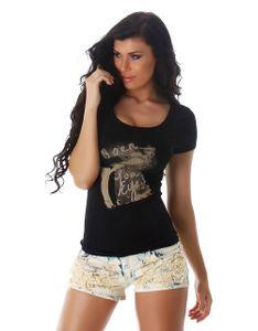 Basic T-Shirt mit Print, Farbe: Schwarz, Größe: One Size (Einheitsgröße)