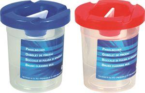 2 Pinselbecher mit Deckel und Auslaufschutz / Farbe: je 1x rot + blau