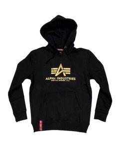 Alpha Industries Herren Hoodie Basic Logo Foil Print black/yellow gold S
