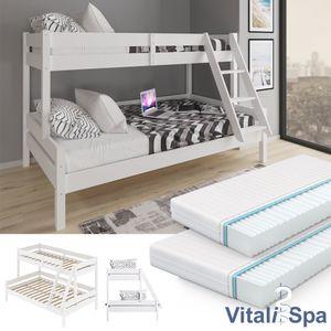 VITALISPA Kinderbett EVEREST Etagenbett Weiß inkl. Matratzen Hochbett Spielbett Massiv Stockbett