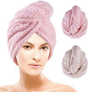 Haarturban - Turban Handtuch mit Knopf 2 Stück Mikrofaser Handtuch Superabsorbierender Haarhandtuch Haartrockentuch (Beige und Rose)