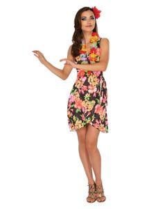Sommerliches Hawaii Kleid mit Blumenkette Größe: L