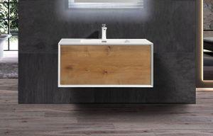 Badmöbel Unterschrank inkl. Waschtisch DICRO 90 (eiche-weiß)