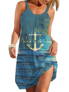(Anker,5XL)Damen y Strandkleider Ärmelloses Kurzes Kleid Strand Hosenträger Urlaub Sommerkleid