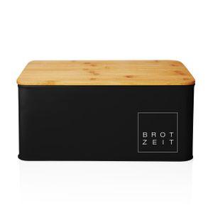 Lumaland Brotkasten Brotdose Brotbox aus Metall mit Bambus Deckel, Brotbehälter rechteckig, 30,5 x 23,5 x 14 cm Schwarz