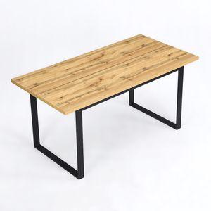 B&D home kleiner Esstisch Eiche Optik, Kufen Tisch Esszimmer, Holztisch Industrial Möbel, küchentisch klein, Kufengestell schwarz, 120x80 cm
