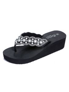 Damen Pearl Wedge Beach Slippers Offene Rutschfeste Atmungsaktive Sandalen,Farbe: Schwarz,Größe:38