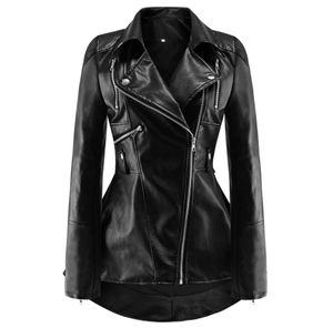 Trendy Damen Leder Reißverschluss Jacke Slim Biker Motorrad Mantel Punk Outwear Größe:XXXL,Farbe:Schwarz