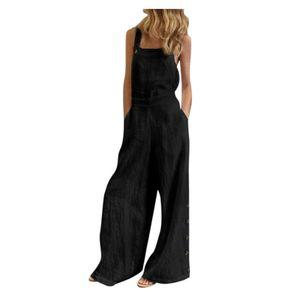 Damen ärmellose Overalls Jumpsuit Casual Solid Summer Wide Leg Latzhose Größe:XXXL,Farbe:Schwarz